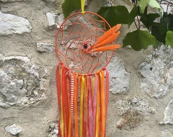 Dream catcher made of satin ribbons, handmade