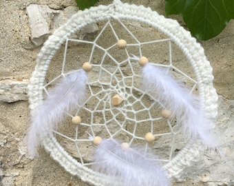 White Dreamcatcher with natural wool and white feathers, handmade