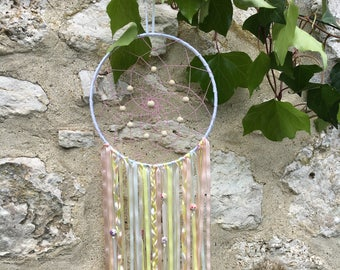 Dream catcher made of satin ribbons