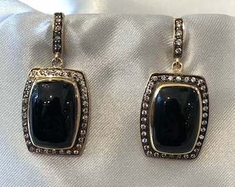 french & 40's centory model earrings made out of sterling silver 925 and gold plated  Studded with polished Quartzes and natural Onyx