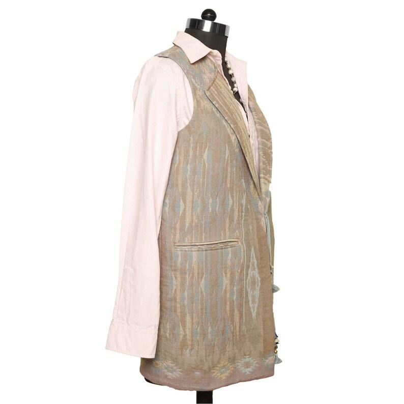 Salmon Handmade Indian Pattern SpringAutumn fashion,Noleens Designs grey colour Jacket Aztec Design Waistcoat great for layering.