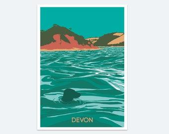 Devon Coast Print, Seaside prints, Wall art, Devon beach art, Poster, Paintings of Devon, Seascape, Beach poster, Devon coast, Beach print