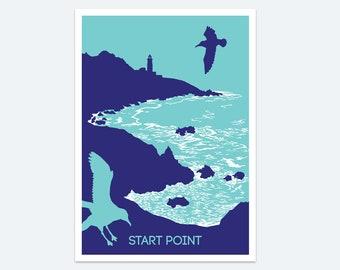 Start Point Print, Seaside prints, Wall art, Devon art, Poster, Paintings of Devon, Seascape, Beach poster, Devon coast, Lighthouse art