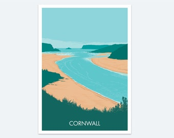 Padstow Print: a classic Cornish destination - a colourful coastal painting of Cornwall and the Camel Estuary between Padstow and Rock