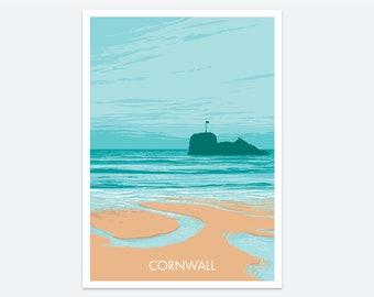 Perranporth Print: a surfing seaside print of a beautiful Cornish beach - a colourful coastal seascape painting of Cornwall