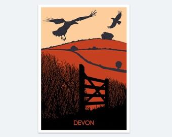 Devon Print, Wall art, Devon art, Poster, Paintings of Devon, Landscape, Devon holidays, Devon gift, Dartmoor print, Devon countryside