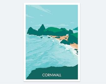 Kynance Cove Print: a Cornish seaside print of a classic Cornwall beach destination - a colourful coastal seascape painting of Cornwall