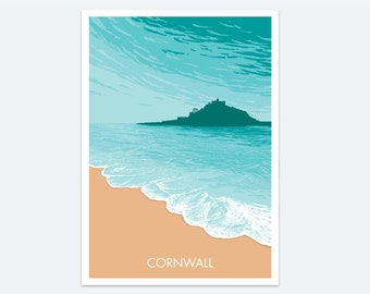 St Michael's Mount Print: a seaside print of a stunning Cornish castle - a colourful seascape painting of a classic Cornwall destination