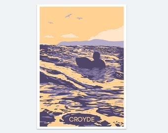 Croyde Surf Print: a seaside print of the North Devon beach - a colourful coastal seascape painting of Devon