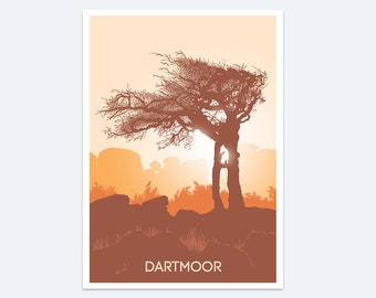 Dartmoor Sunrise Print, Dartmoor prints, Wall art, Devon art, Dartmoor national park, Poster, Paintings of Devon, Landscape, Tree art