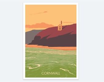 Cornwall Print: a seaside sunset print of a beautiful Cornish beach - a colourful seascape with Wheal Coates, a classic Cornwall destination