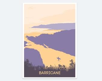 Barricane Print, Seaside prints, Wall art, Devon beach art, Paintings of Devon, Beach poster, Devon coast, Woolacombe, North Devon, Surfing