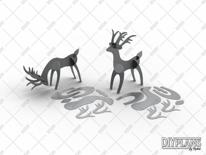 Deer DXF File - Cut File - CNC File - DIY File - Plasma - Laser - Waterjet  - Metal Art - Metal Decoration - Garden Decoration - 3D Puzzle