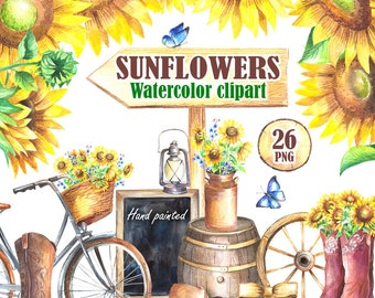 Sunflower watercolor clipart png Sunflower wedding Floral Wreath Bicycle Flower Country wedding clipart Cowboy Boots Chalkboard barrel png