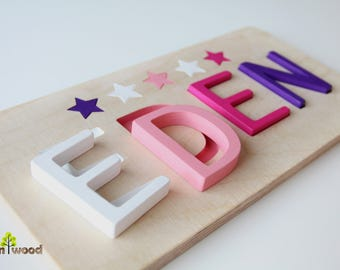Wooden Name Puzzle - Baby Gifts - Educational Toy - 1st Birthday Gift -  Baptism Gift for Girl - Baby Girl Gift Personalized