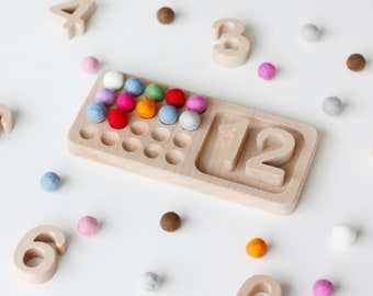 Twenty Frame. Montessori Counting Board. 1-20 Math Number Wooden Tray. Preschool Activity for Toddlers.