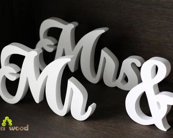 Mr & Mrs sign, mr mrs sign, wedding decor, sweetheart table, mr and mrs sign, mr and mrs letters, top table sign, mr mrs gold silver, wooden