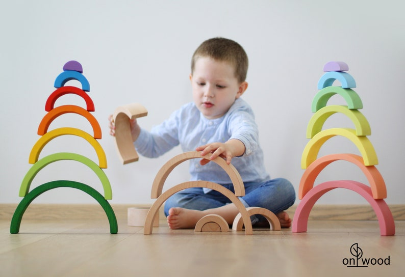 Wooden Rainbow Stacker. Waldorf Toys. Easter Gift for Kids. image 0