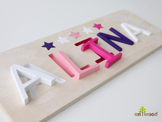 Baby Douche Cadeau Meisje Houten Naam Puzzel Educatief Speelgoed 1e Gift Van De Verjaardag Doop Cadeau Voor Meisje Meisje Babygift