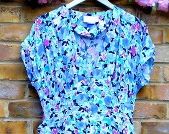 Vintage Bright Blue Floral Dress