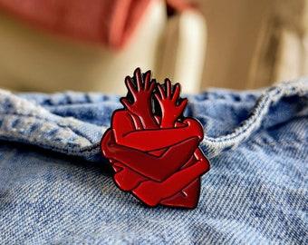 Hugging Heart Pin / Badge