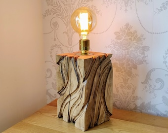 Solid Oak Rustic Table Lamp with Edison Bulb