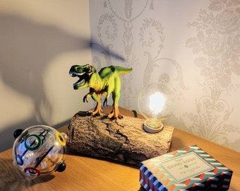 T rex Dinosaur Toy, Reclaimed wooden log Lamp