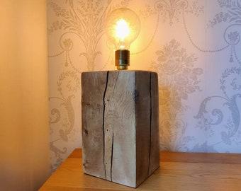 Rustic Oak Table Lamp with Edison Bulb
