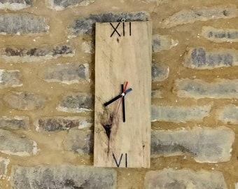 Minimalist reclaimed wooden clock