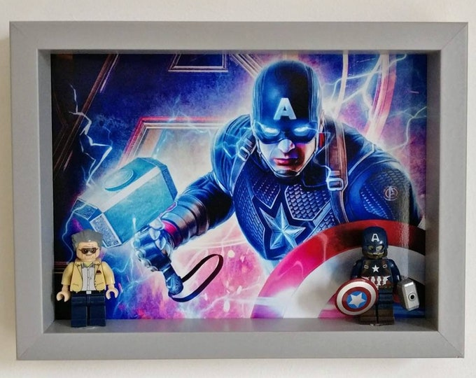 Featured listing image: Stan Lee, Captain America Fan Art Mini Figure Frame