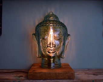 Rare Buddha / Hindu Glass Head Edison Lamp - UK *Made To Order* **DEFECTED**