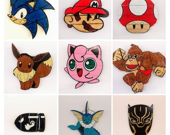 Custom Order Game / Animated Character  Wooden Wall Art Hanging - Birthday, Christmas Gift/Present