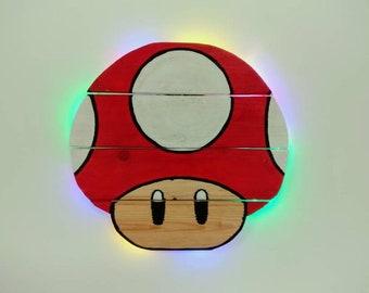 Super Mario Bros. Red Super Mushroom Pallet Wood Art Hanging Decor/Night Light