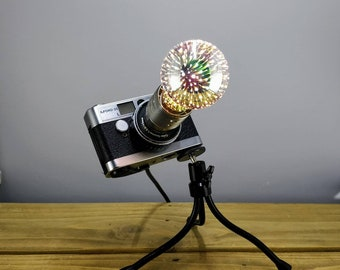 Upcycled Vintage Camera Desk Lamp on Bendy Tripod