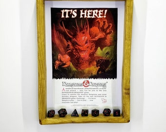 Dungeons and Dragons VIntage Advert, with Dice, Handmade Frame