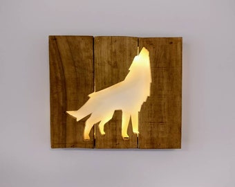 Howling Wolf Silhouette - Recycled Wood / LED lights / Home Decor