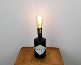 Upcycled Hendrick's Gin Table Lamp, Wedding Gift, Housewarming Gift, Gin Gift