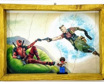 Deadpool / Bob Ross Fan Art Figure Frame