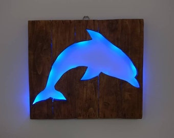 Blue Dolphin Silhouette - Recycled Wood / LED lights / Home Decor