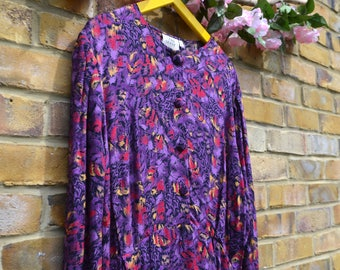 Vintage Long Sleeved Purple & Red Dress