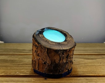 Resin Log Blue Accent Lamp with African Print backing