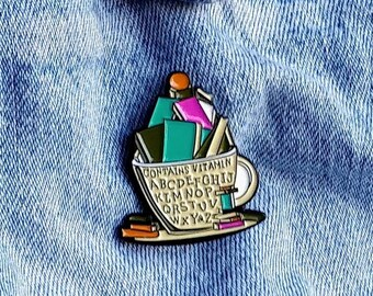 Coffee and Reading Books Pin/Badge