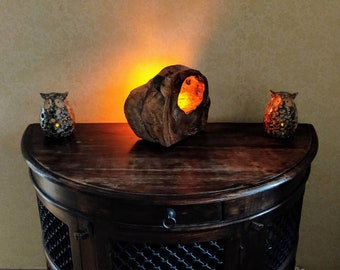 Hollow Rosewood Log Accent Lamp