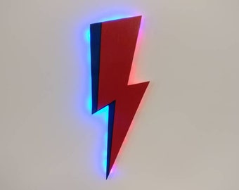 Bowie Lightning Bolt - Wooden Wall Art Hanging - Birthday, Christmas Gift/Present