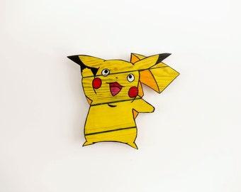 Pikachu Pokemon Wooden Wall Art Hanging - Birthday, Christmas Gift/Present
