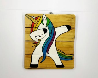 Dabbing Unicorn Wooden Wall Art Hanging