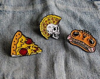 Creepy Hot Dog, Pizza Face Pin/Badge
