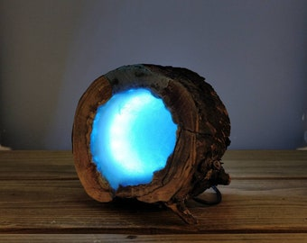 Resin Hollow Log Blue Accent Lamp