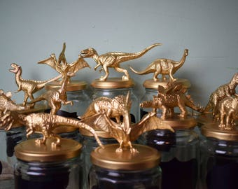 Upcycled Metallic Gold Dinosaur Jars