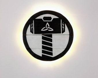 Thor, God of Thunder Wooden Wall Art Hanging - LED battery Light